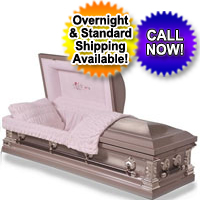 Stainless Steel Silver Rose Finish Casket