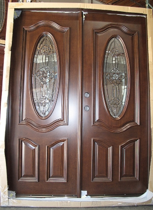 Double Mahogany Deluxe Oval 5 Solid Wood Entry Door