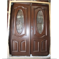 Double Mahogany Deluxe Oval 5' Solid Wood Entry Door