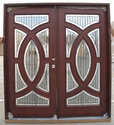 Double Mahogany Circular Deluxe Gl19 6 Solid Wood Entry Door