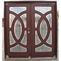Double Mahogany Circular Deluxe GL19 6' Solid Wood Entry Door