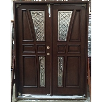 "Double Diamond Vase Mahogany 30"" Solid Wood Entry Door"