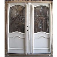 Double White Paint Mahogany 6' Solid Wood Entry Door