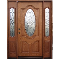 Triple Ash Deluxe Oval GL06 Solid Wood Entry Door
