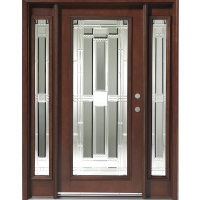 Triple Mahogany Full Lite Solid Wood Entry Door