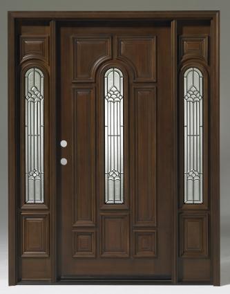 Triple Teak Center Arch Solid Wood Entry Door Unit