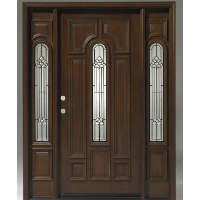 Triple Teak Center Arch Solid Wood Entry Door Unit
