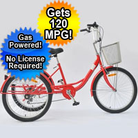"Brand New 24"" Adult Gas Powered 3 Wheel Trike Scooter Tricycle Bicycle"