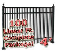 100 ft Complete Double Picket Residential Aluminum 4' High Fencing Package
