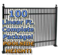 "100 ft Complete Double Picket Residential Aluminum 54"" Pool Fencing Package"