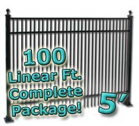 100 ft Complete Double Picket Residential Aluminum 5' High Fencing Package