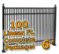 100 ft Complete Double Picket Residential Aluminum 6' High Fencing Package