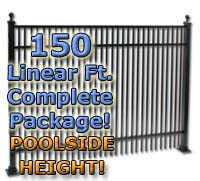 "150 ft Complete Double Picket Residential Aluminum 54"" Pool Fencing Package"