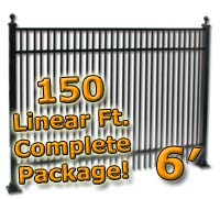 150 ft Complete Double Picket Residential Aluminum 6' High Fencing Package
