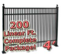 200 ft Complete Double Picket Residential Aluminum 4' High Fencing Package
