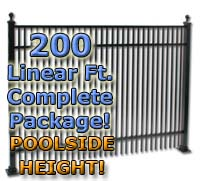 "200 ft Complete Double Picket Residential Aluminum 54"" Pool Fencing Package"