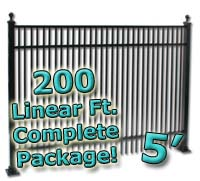 200 ft Complete Double Picket Residential Aluminum 5' High Fencing Package
