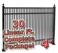 30 ft Complete Double Picket Residential Aluminum 4' High Fencing Package