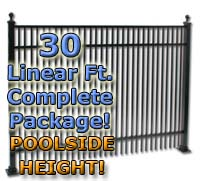 "30 ft Complete Double Picket Residential Aluminum 54"" Pool Fencing Package"