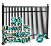 30 ft Complete Double Picket Residential Aluminum 5' High Fencing Package
