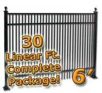 30 ft Complete Double Picket Residential Aluminum 6' High Fencing Package