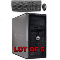 Dell Dual Core Core 2 Duo Desktop Computer 80GB Windows XP + Keyboard+Mouse - Lot of 5