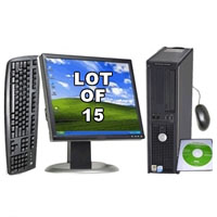 "Dell P4 2.8 Ghz Desktop PC Computer  with 17"" LCD Monitor - Lot of 15"