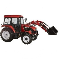 High Quality 70 HP 4WD Tractor w/ Front End Loader & Agricultural Tires