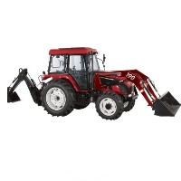 High Quality 70 HP 4WD Tractor w/ Front End Loader + Backhoe + Agricultural Tires