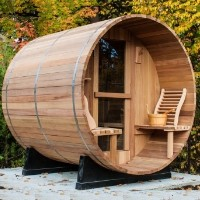 8' Western Red Cedar Outdoor Barrel Sauna w/ Porch & Sauna Heater