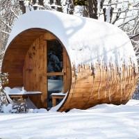 8' Six Person Nordic Pine Outdoor Barrel Sauna