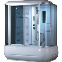 "74"" Shower Enclosure  w/ FM Radio, Control Panel, Bathtub & Massage"