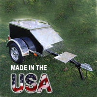 "48"" x 28"" x 19"" Aluminum Black Enclosed Motorcycle / Car Trailer - Made in USA"