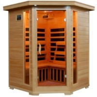 3-4 Person Infrared Sauna with Carbon Heaters - Corner Unit