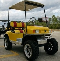 EZ-GO Lifted Yellow & Red 36 Volt Electric Golf Cart