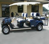 EZ-GO Patriot Blue Stretch Limo 6 Passenger Gas Golf Cart