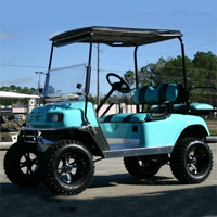 EZ-GO Lifted Turquoise & Black 36 Volt Electric Golf Cart
