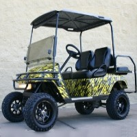 EZ-GO Lifted Yellow & Black Splash 36 Volt Electric Golf Cart