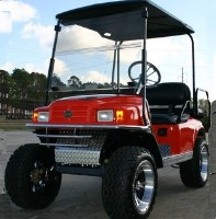 EZ-GO Lifted Orange 36 Volt Electric Golf Cart